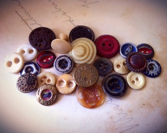Primitive Button Soup. Antique Button Collection Mixed Lot of 24