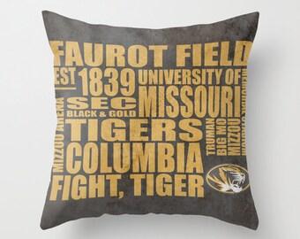 University of Missouri Mizzou Tigers Typography Pillow