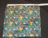 Green Christmas Cotton Fabric, with Drums, Teddy Bears and Nutcrackers, Price is for 42 inches, Quiltsy Destash Party
