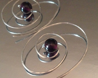 Custom Color Glass Bead Spiral Hoop Earrings