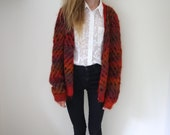 Orange and Red Knitted Cardigan