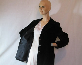 SALE Vintage 1970's black velvet jacket blazer Koret of California Made in America size 12