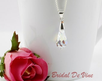 Bridal Necklace with CRYSTALLIZED™ Swarovski Elements Teardrop Clear or Clear ab