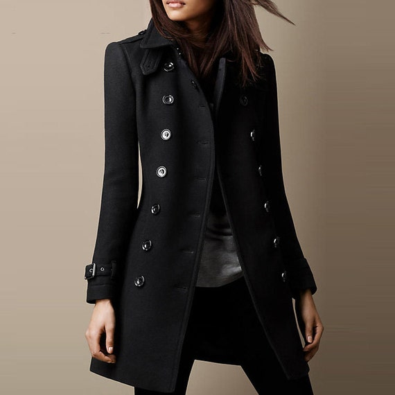 New 2013 autumn winter flip collar double breasted medium long knee length cashmere wool women coat