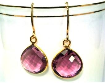 24 Kt Vermeil Sterling Silver Plum Quartz Faceted Heart Gemstone Bezel Earrings 35x16mm Approx