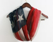 Vintage American Flag Infinity Scarf Soft and Large American Flag Scarf July 4th Scarf Lovely Flag Scarf