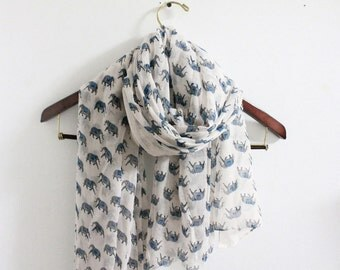Elephant Scarf, White Blue Elephant Scarf, Bohemian Scarf, Boho Scarf, Animal Scarf, For Her, Womens Scarves, Mom Gifts, For Women, Gift Mom