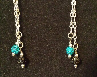 Sterling Silver French Hook Teal and Black Jaguars Drop Chain Earrings
