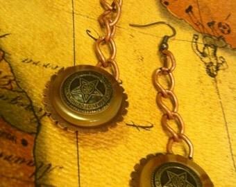 Reversible Steampunk Star Button Earrings