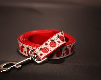 "Red and White Lady Luck Ladybug 1 "" Wide Custom Dog Leash"