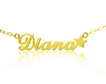 Carrie Style Name Necklace with Star Personalized 18k Gold Plated Nameplate Pendant   Star Name Jewelry