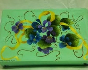 Keepsake or Pencil Box, Oil Painted, Canvas Covered Paper Board