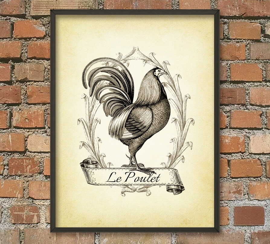 Retro Kitchen Wall Decor: Rooster Vintage Kitchen Wall Decor Chicken Art By QuantumPrints