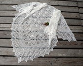 Lace shawl, From Estonia - with Love, a beautiful hand knitted triangular lace shawl with nupps and with lowe