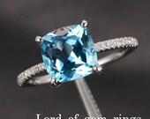Pave Diamond White Gold 8mm Cushion Aquamarine Ring (Emerald/Amethyst/Citrine/Morganite/Topaz/Peridot/Garnet) Engagement Ring Wedding Ring