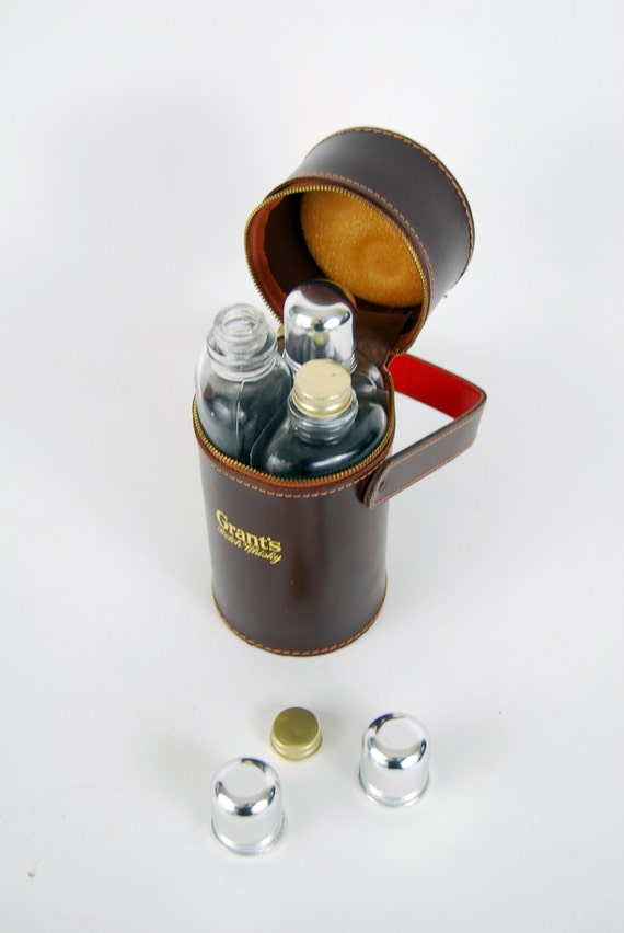 Vintage Grants Scotch Whiskey Leather Flask from the 1960's 3 Bottle Set