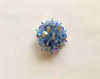 Sale: Vintage Blue Crystal and Clear Rhinestone Pin
