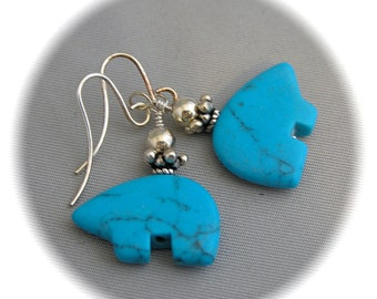 Bear Fetish Earrings-Turquoise Magnesite - Silver