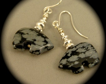 Snowflake Obsidian Bear Fetish Earrings - Silver