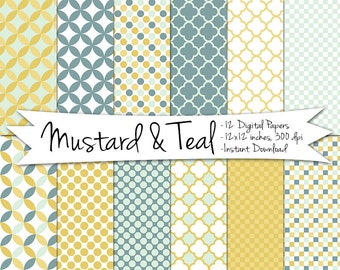 Mustard and Teal Digital Paper // Instant Download // Printable Patterned Polka Dot and Quatrifoil Digital Paper