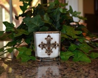 8oz Old World Tuscan Luxury Soy Candle Embellished w/Antique Gold Fleur de Lis and Swarovski Crystal Accents