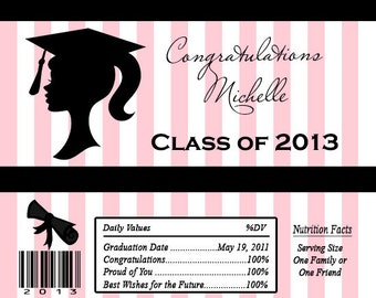 GRADUATION Silhouette Candy Bar Wrappers Printed or Digital File FREE SHIPPING