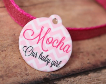 Chevron Our Baby Girl Pet Tag-ID Tag {Double sided} Pink chevron - custom pet tag - dog/cat - if lost