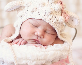 Little lamb bonnet, photo prop, crochet lamb bonnet, lamb baby hat