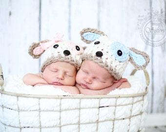 Crocheted twin set puppy hats, puppy beanie, photo prop