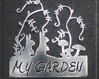 My Garden Bunnies Metal Art Sign  With or Without Stakes