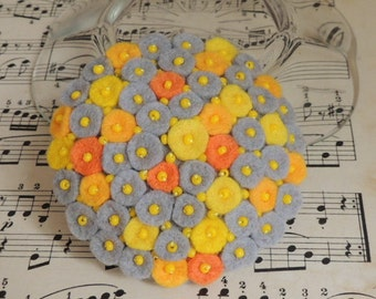Felt Brooch, Boho Brooch, Felted Brooch, Felt Boho Jewelry, Felted Jewelry, Felt Boho Jewelry Jewellery Grey Yellow, Birthday Gift for her