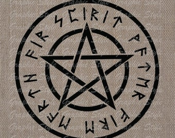 Pentagram Digital Download Collage Sheet Transfer To Pillows Tote Tea Towels Burlap