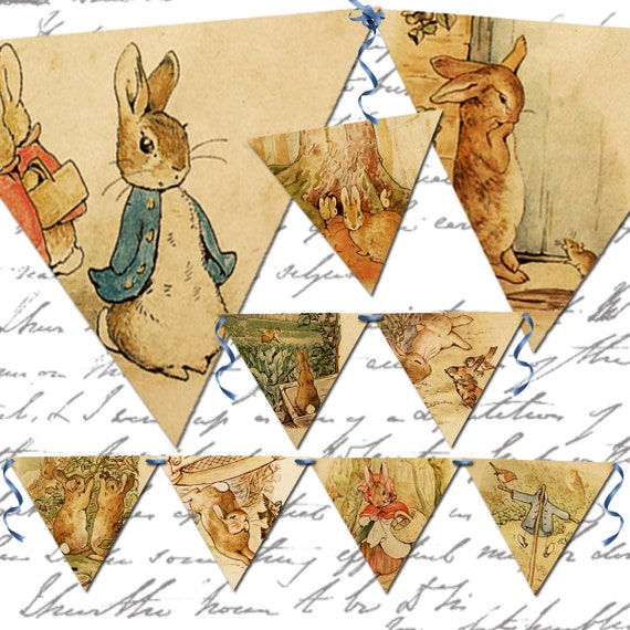instant download, Vintage Peter Rabbit banner, twenty four, 4.5 X 4 inches each, printable download for paper craft