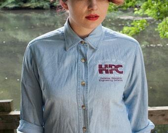 American Unique and Unusual Workwear Pale Denim Shirt.