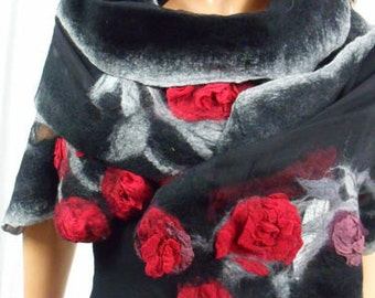 Unique silk roses, Nuno felted silk scarves decorated with Australian Merino wool. Hand Made , Unique Design, Felt Shawl