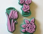 Foam Stamps Flowers And Leaves Set of 3 Destash