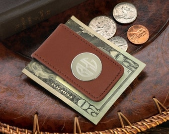 Personalized Leather Magnetic Money Clip - Groomsmen Gifts - Monogrammed Money Clips - GC1075