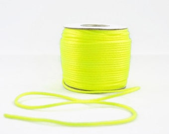 1mm NEON SATIN STRING - Neon Fluorescent Yellow Cord (1mm diameter) sold by 5m length