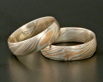 Mokume Gane rose gold, white gold and silver ring - star and topo pattern