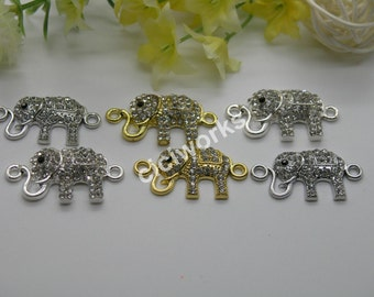 Wholesales 10pcs 33mmx17mm Alloy Elephant Bead with Rhinestone Pave Connector/Pendant