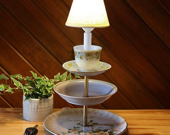 vintage china 3 tiered lamp for your table or kitchen counter - Lamp For Kitchen Counter