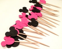 24 Minnie Mouse Party Picks- Cupcake Toppers