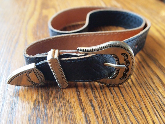 cowboy style leather belt with metal tip by selvedgeandsew