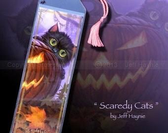 Halloween bookmark // Black cat bookmark // Black kittens bookmark // Scaredy Cats bookmark // Cat lovers