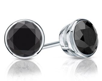 14k Gold Bezel Round Black Diamond Stud Earrings 2.00 ct. tw.