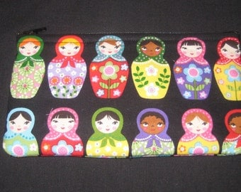 Russian Matryoska / Nesting Dolls Pencil Case / Zipper Pouch #32