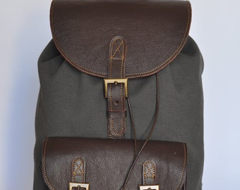 Genuine Leather and Gray Canvas Backpack