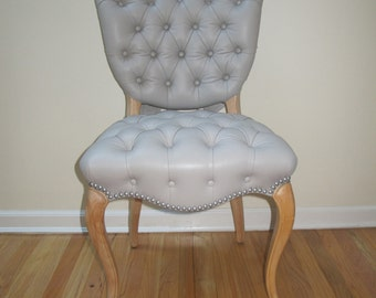 Vintage Victorian Gray or Grey Leather Tufted Chair w/Upholstery Studs & Decorative Bow