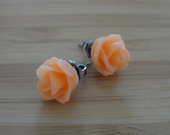 Small Orange Flower Earrings