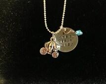 Disney Cinderella Inspired Hand Stamped Charm Necklace